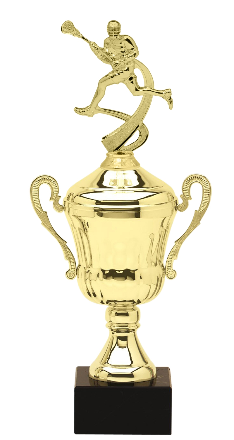 Metal Boys Lacrosse Trophy Cup on Marble Base in (3 - Sizes)