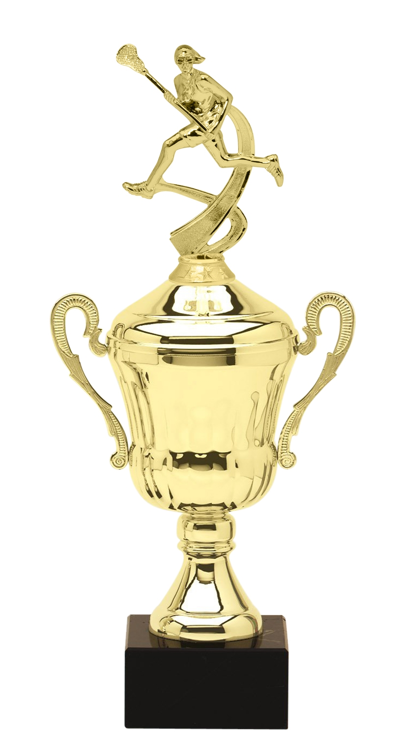 Metal Girls Lacrosse Trophy Cup on Marble Base in (3 - Sizes)