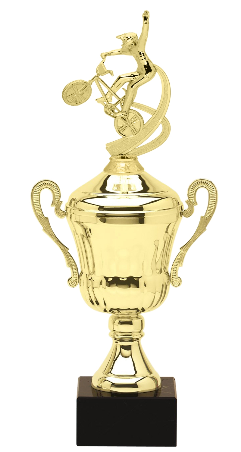 Metal BMX Trophy Cup on Marble Base in (3 - Sizes)