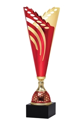 "16"" Red and Gold Trophy Cup with Marble Base"