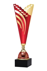 "13"" Red and Gold Trophy Cup with Marble Base"