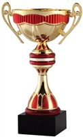 "7"" Gold & Red Trophy Cup with Marble Base"