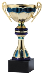 "7"" Gold & Blue Trophy Cup with Marble Base"
