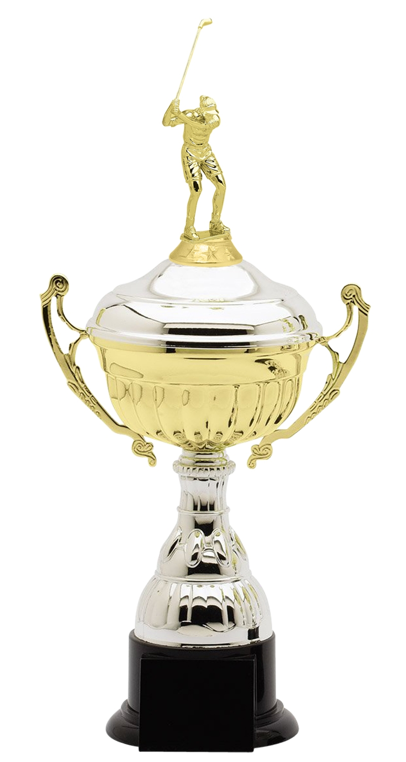 Metal Female Golf Trophy Cup on Synthetic Base in (3 - Sizes)