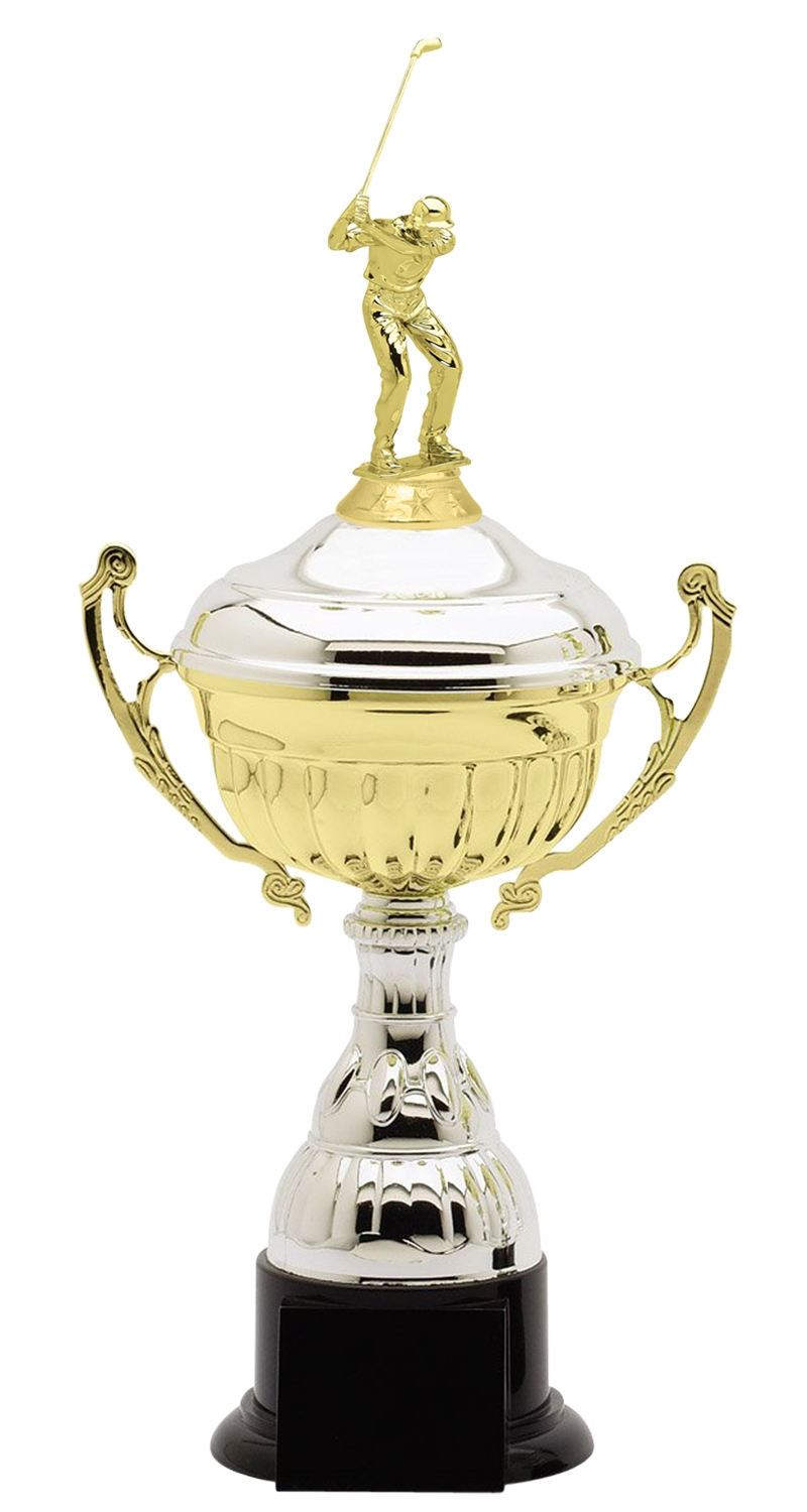 Metal Male Golf Trophy Cup on Synthetic Base in (3 - Sizes)
