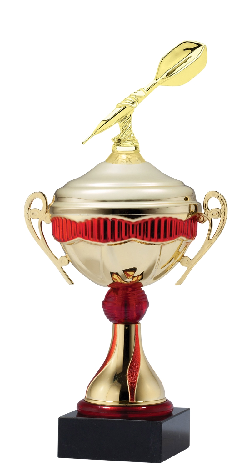 Metal Darts Trophy Cup on Marble Base in (3 - Sizes)