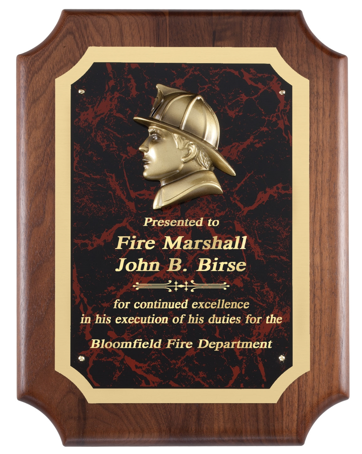 Fireman Red Marble Plaque