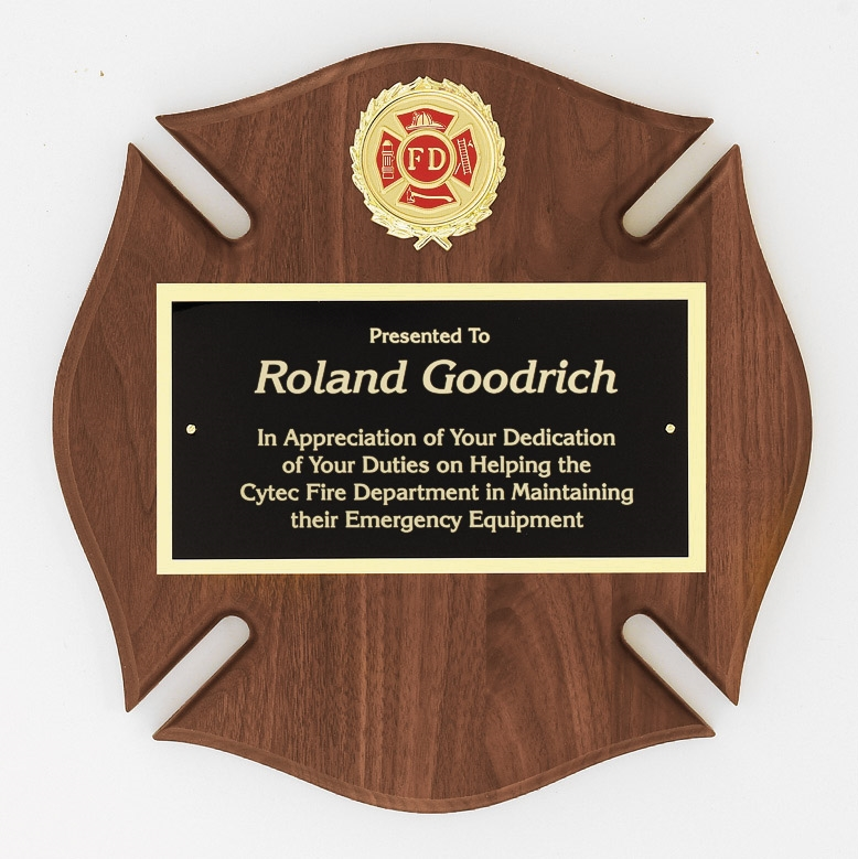 Fire Department Maltese Cross Plaque