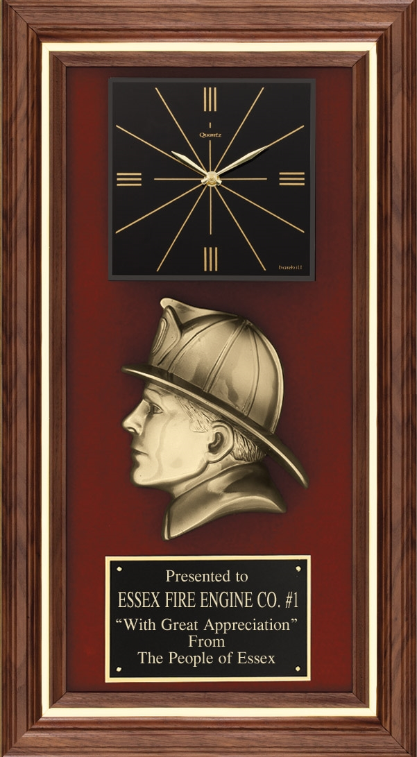 Fireman Clock Plaque American Tribute