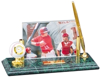 Marble and Brass Baseball Pen & Clock Photo Desk Award