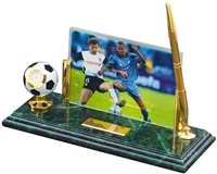 Marble and Brass Soccer Pen & Clock Photo Desk Award