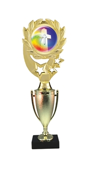 "12"" Cup Column Wreath Full Color Religious Trophy"