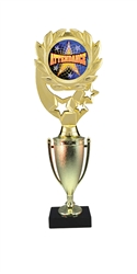 "12"" Cup Column Wreath Full Color Attendance Trophy"