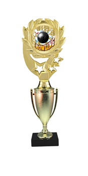 "12"" Cup Column Wreath Full Color Bowling Trophy"