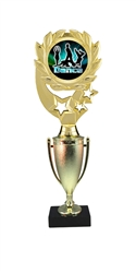 "12"" Cup Column Wreath Full Color Modern Dance Trophy"