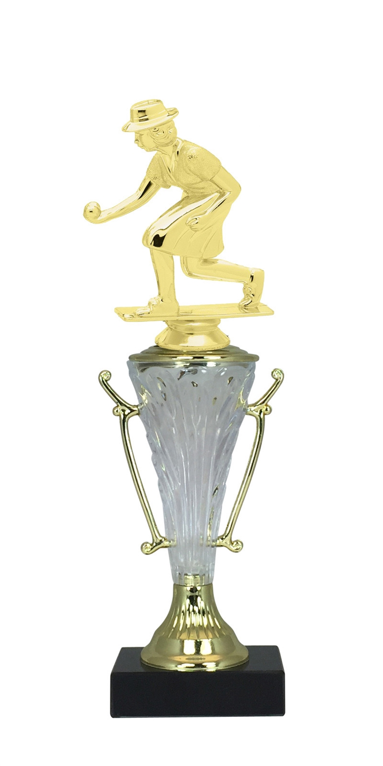 Female Lawn Bowler Trophy Cup on Marble Base in (2 - Sizes)