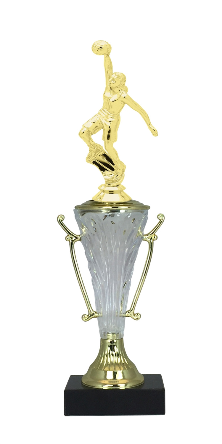 Female Basketball Dunk Trophy Cup on Marble Base in (2 - Sizes)