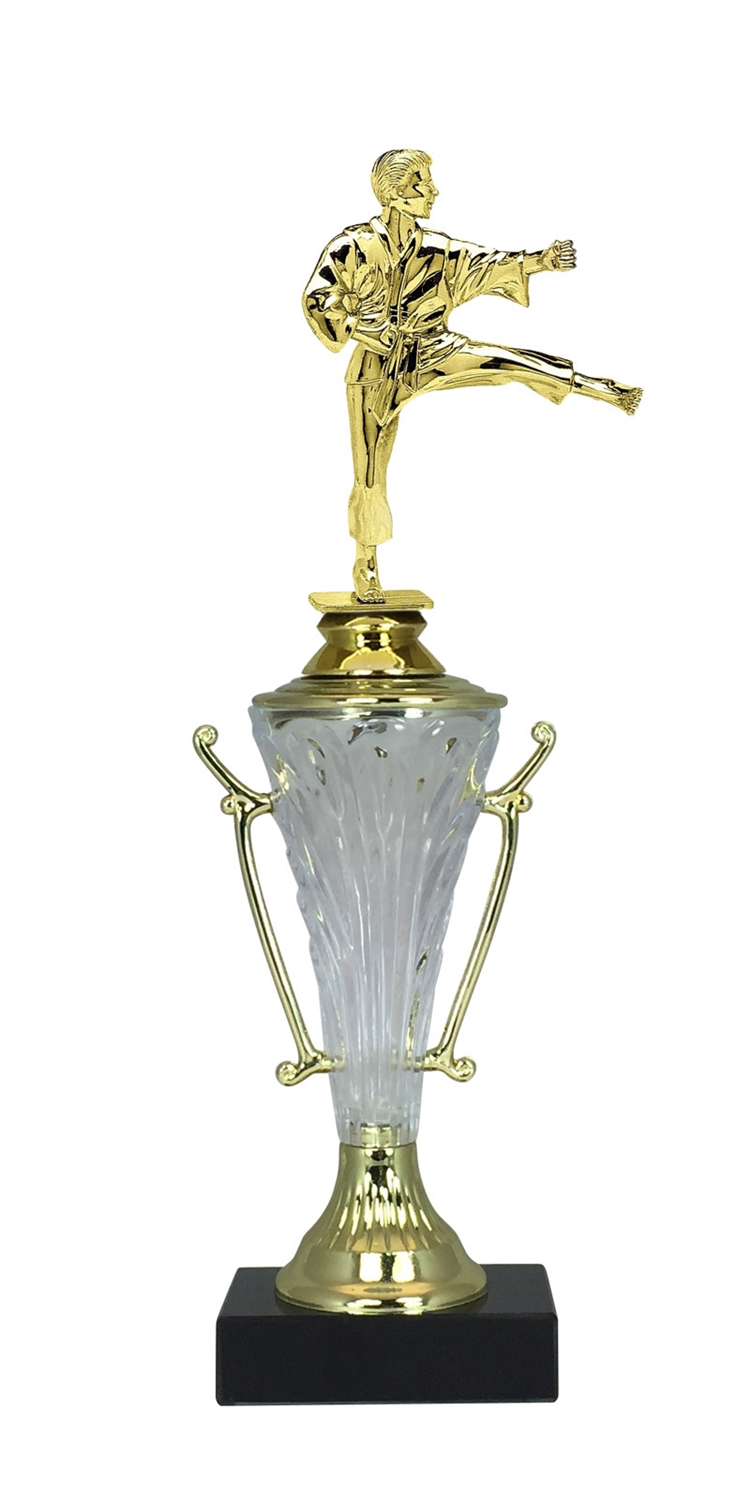 Male Martial Arts Trophy Cup on Marble Base in (2 - Sizes)