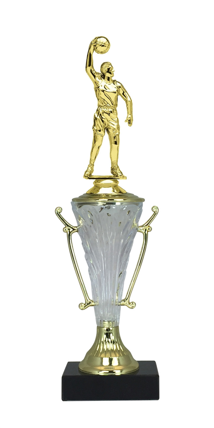 Girls Basketball Trophy Cup on Marble Base in (2 - Sizes)