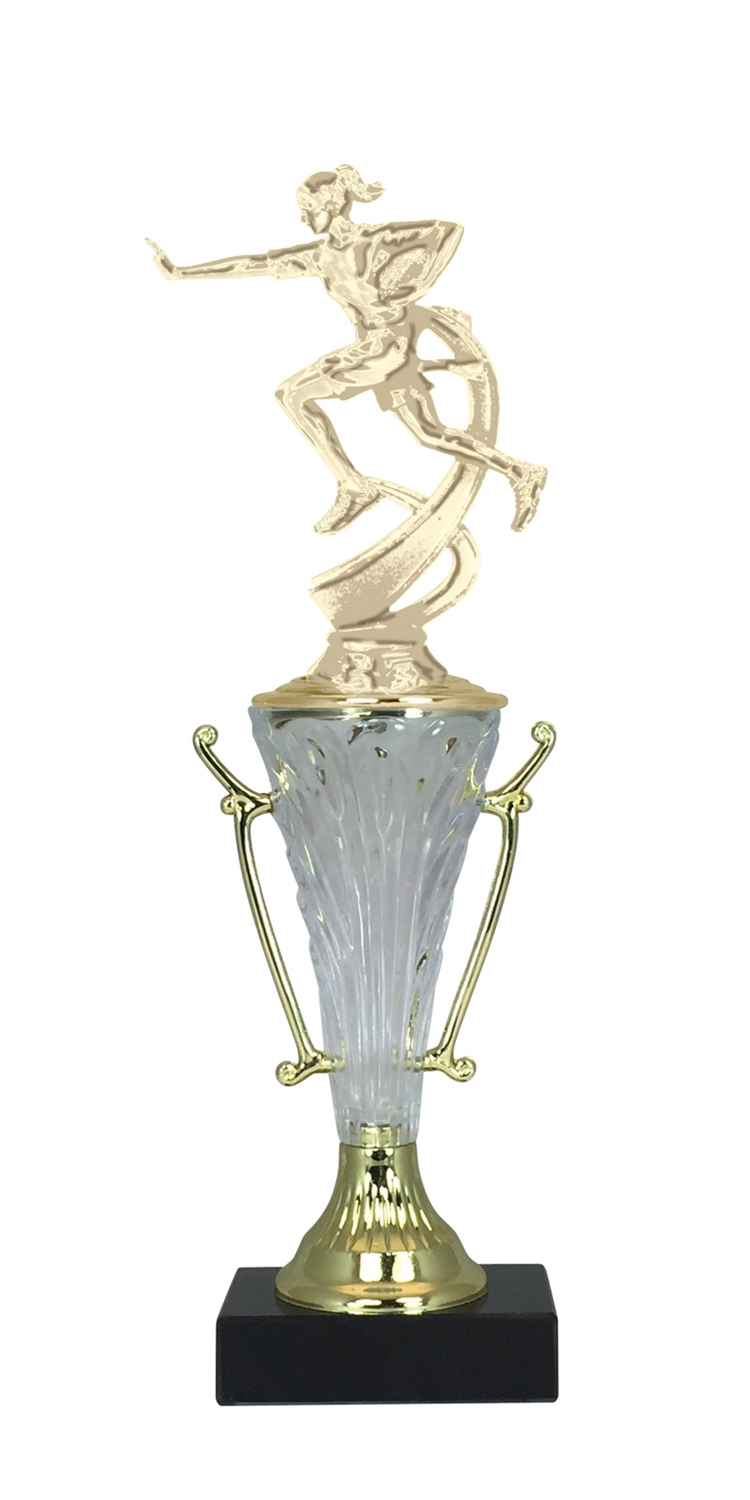 Girls Flag Football Trophy Cup on Marble Base in (2 - Sizes)