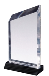"5"" Clear Wedge Acrylic Award on Black Base"