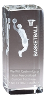 "4-1/2"" x 2"" Male Basketball Crystal Award"