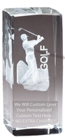 "4-1/2"" x 2"" Male Golf Crystal Award"