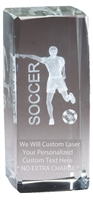 "4-1/2"" x 2"" Male Soccer Crystal Award"