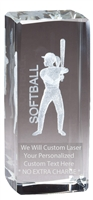 "4-1/2"" x 2"" Female Softball Crystal Award"