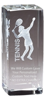 "4-1/2"" x 2"" Female Tennis Crystal Award"