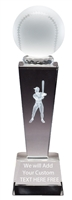 "8-3/4"" x 2-1/2"" Male Baseball Sport Ball Crystal Award"