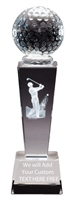 "8-3/4"" x 2-1/2"" Male Golf Sport Ball Crystal Award"