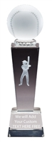 "8-3/4"" x 2-1/2"" Female Softball Sport Ball Crystal Award"