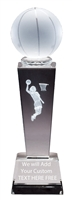 "8-3/4"" x 2-1/2"" Female Basketball Sport Ball Crystal Award"