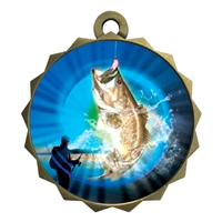 "2-1/4"" Bass Fishing Medal"
