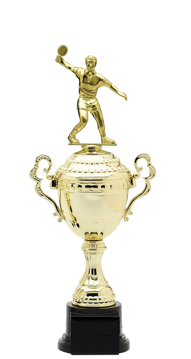 Male Ping Pong Trophy Cup on synthetic base in (6 - Sizes)