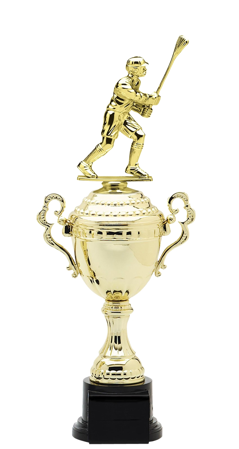 Male Lacrosse Trophy Cup on synthetic base in (6 - Sizes)