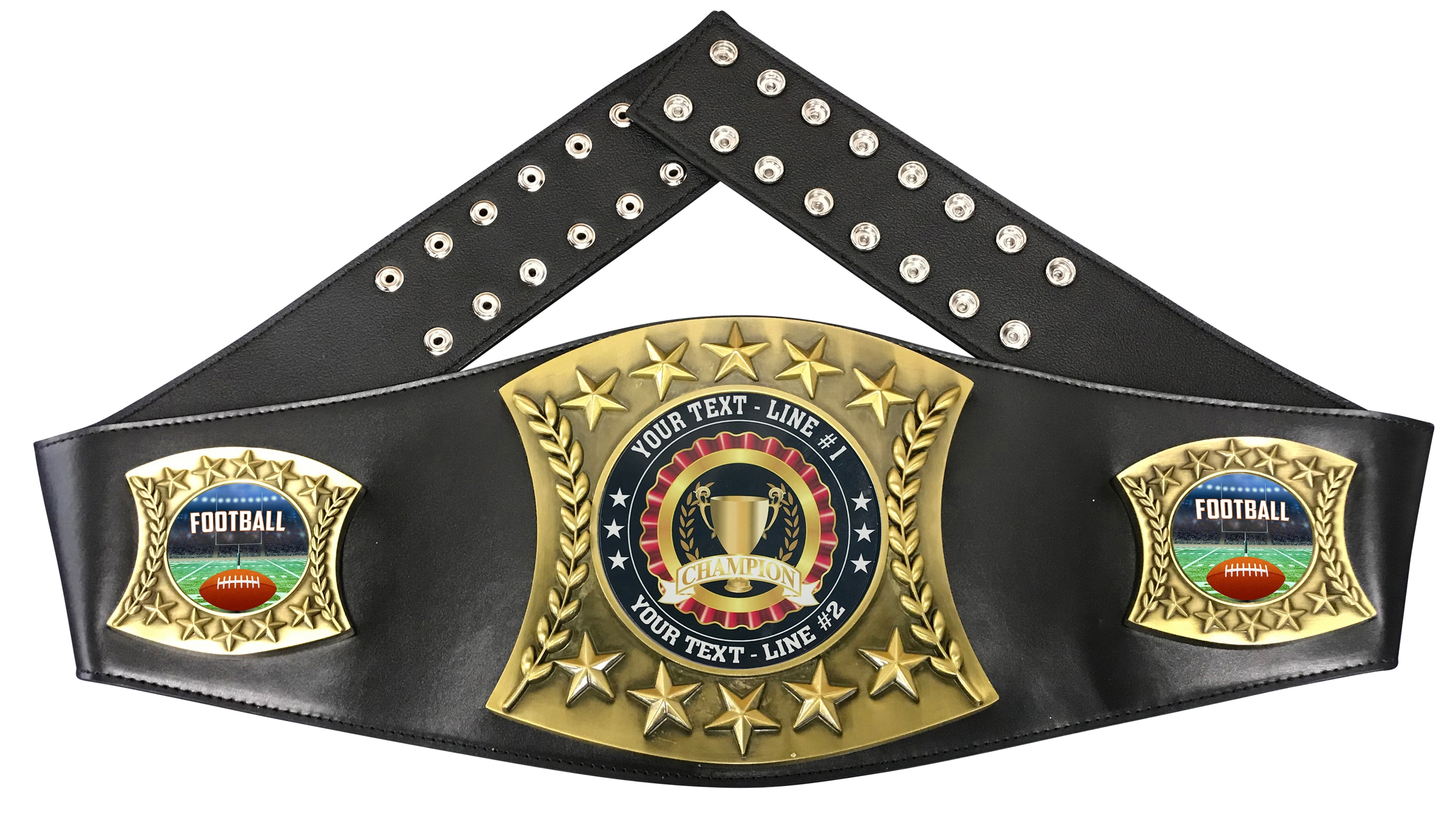 Football Personalized Championship Leather Belt