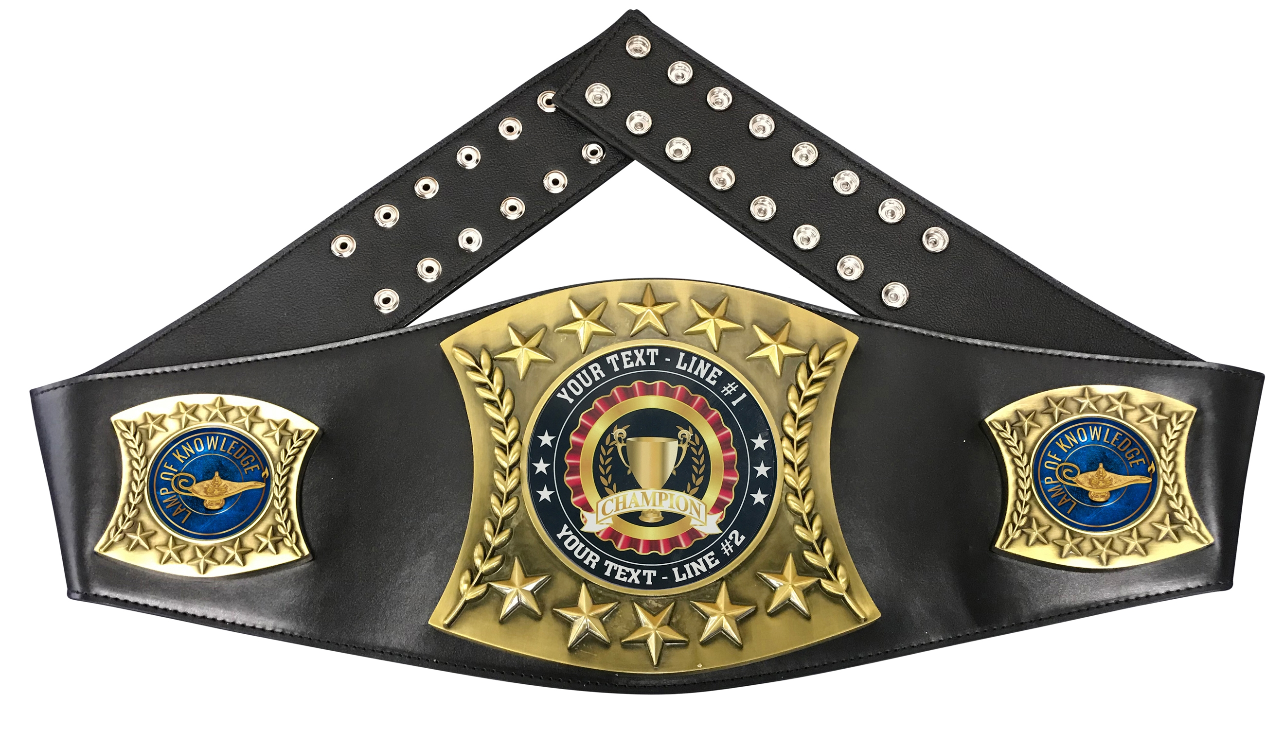 Lamp of Knowledge Personalized Championship Leather Belt