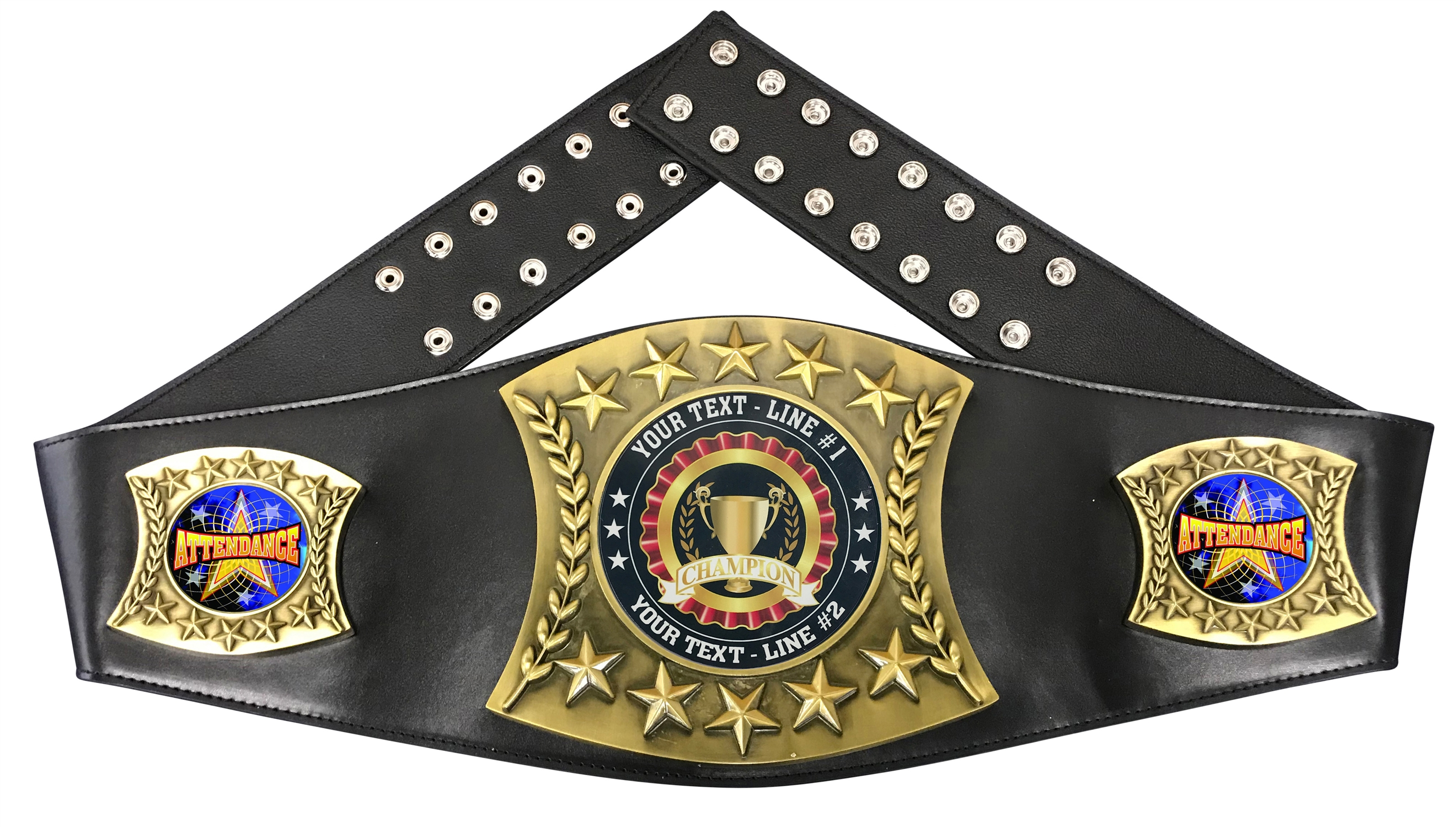 Attendance Personalized Championship Leather Belt