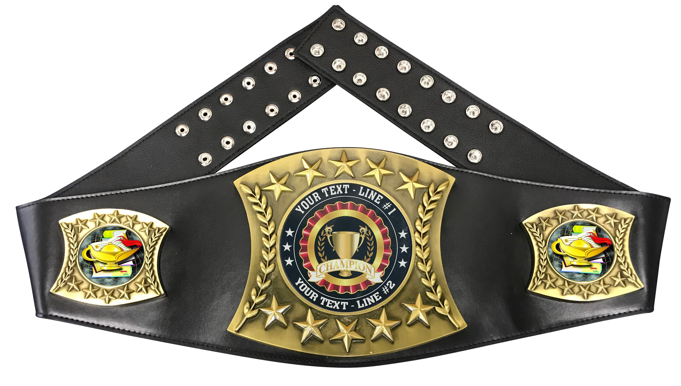 Book & Lamp Personalized Championship Leather Belt