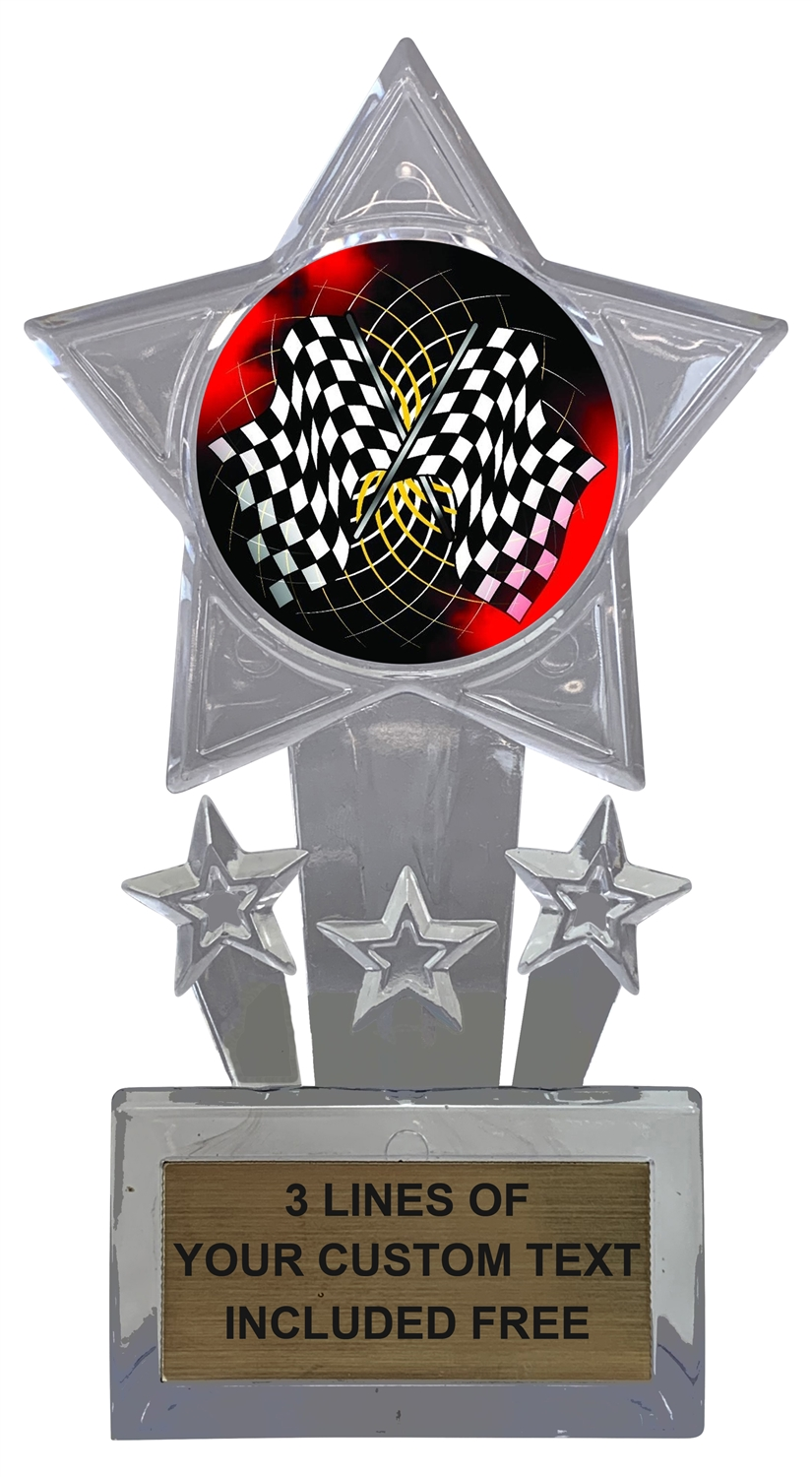 Auto Racing Flags Trophy Cup