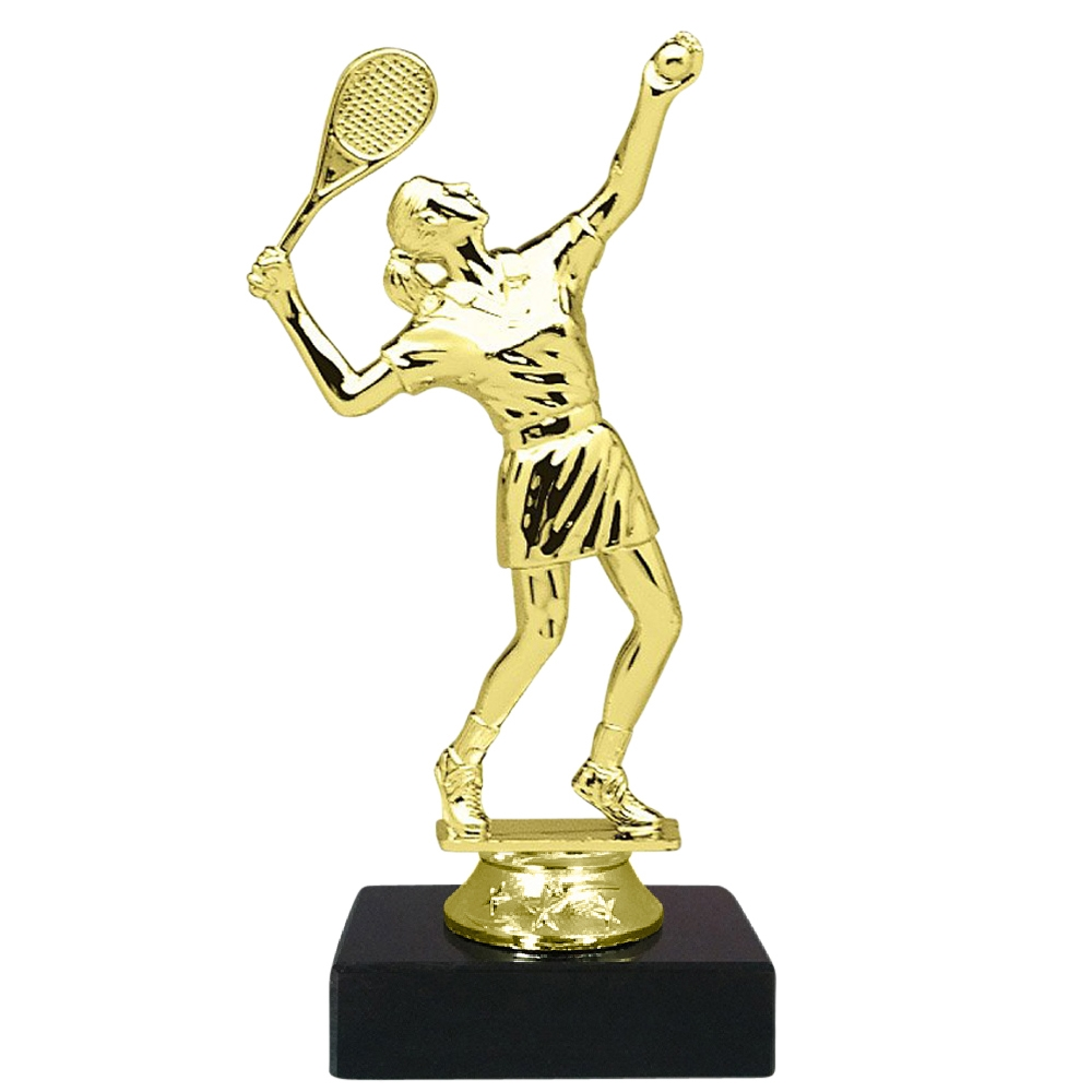 Female Tennis Figure on Marble Base Trophy