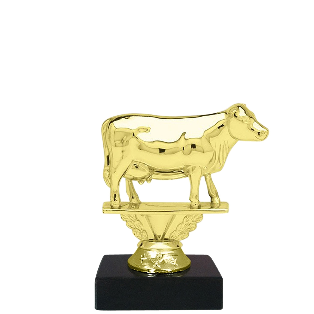 Cow Figure on Marble Base Trophy