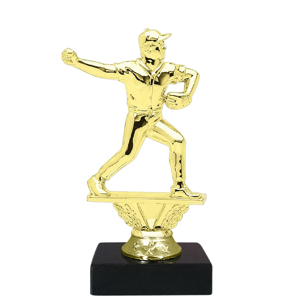 Baseball Pitcher Figure on Marble Base Trophy