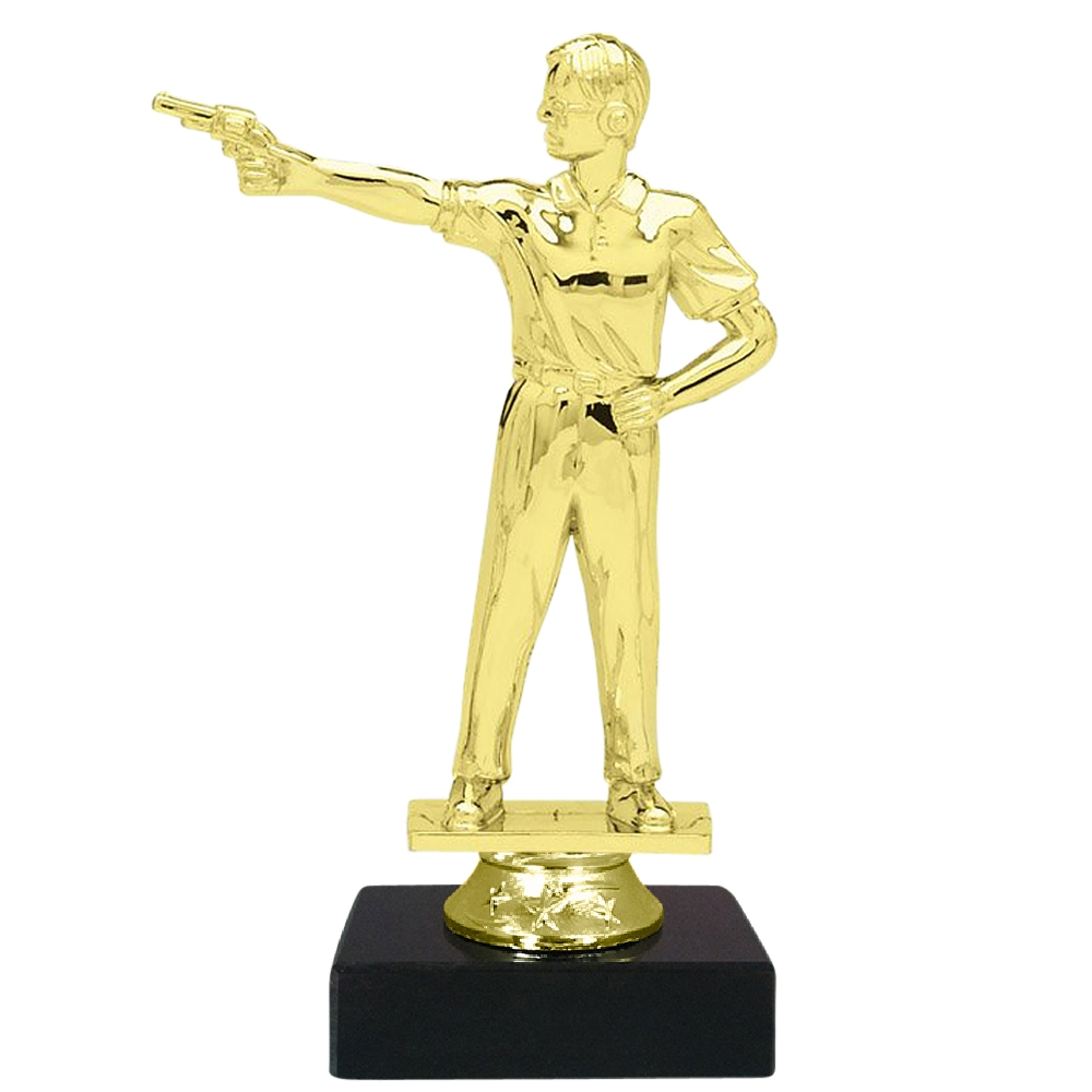 Pistol Shooting Figure on Marble Base Trophy
