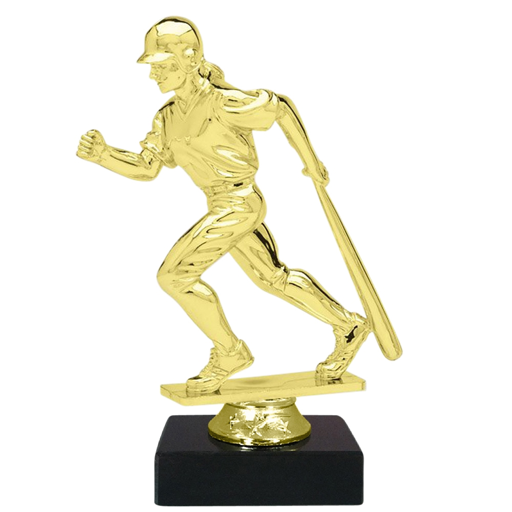 Female Baseball Figure on Marble Base Trophy