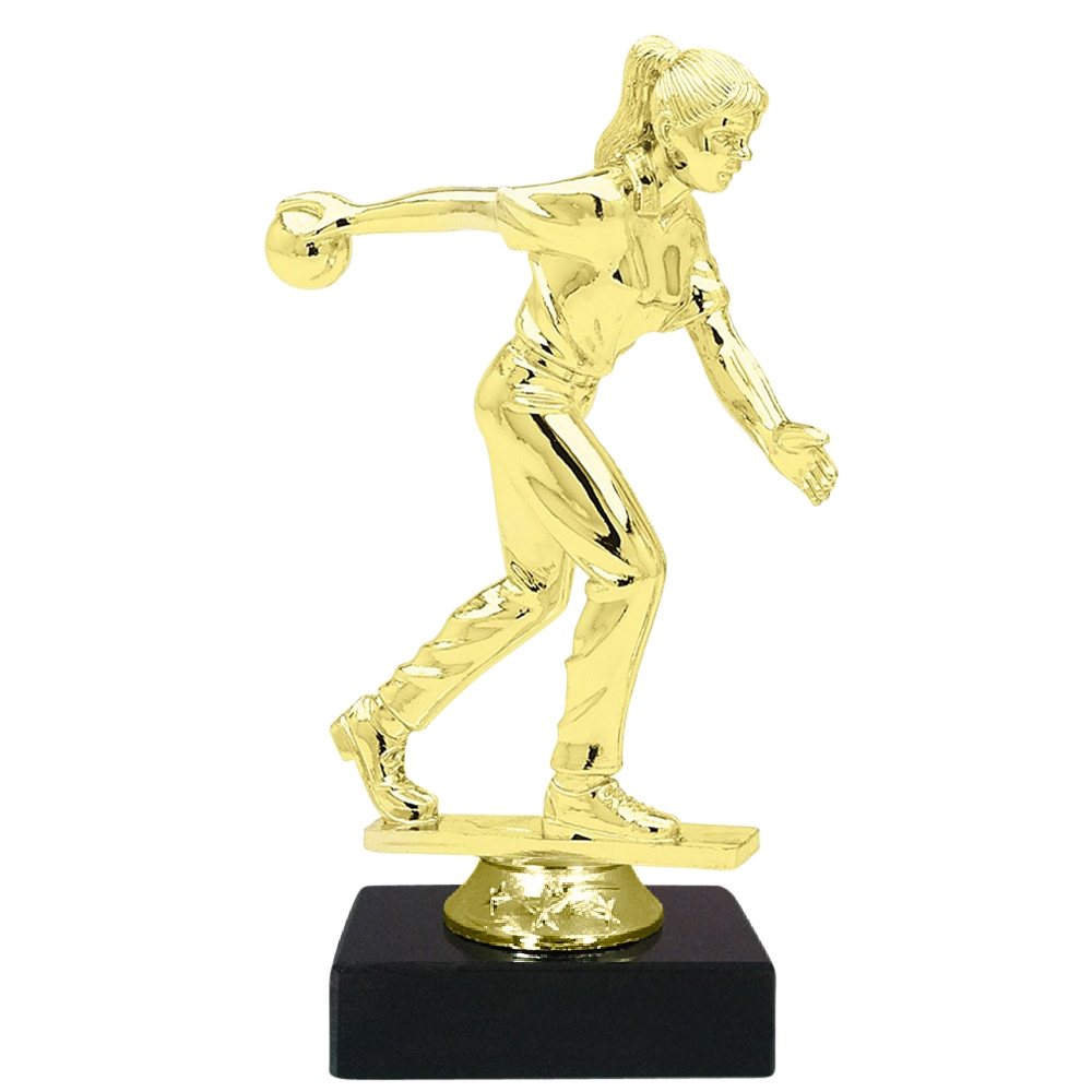 Female Candlestick Bowler Figure on Marble Base Trophy