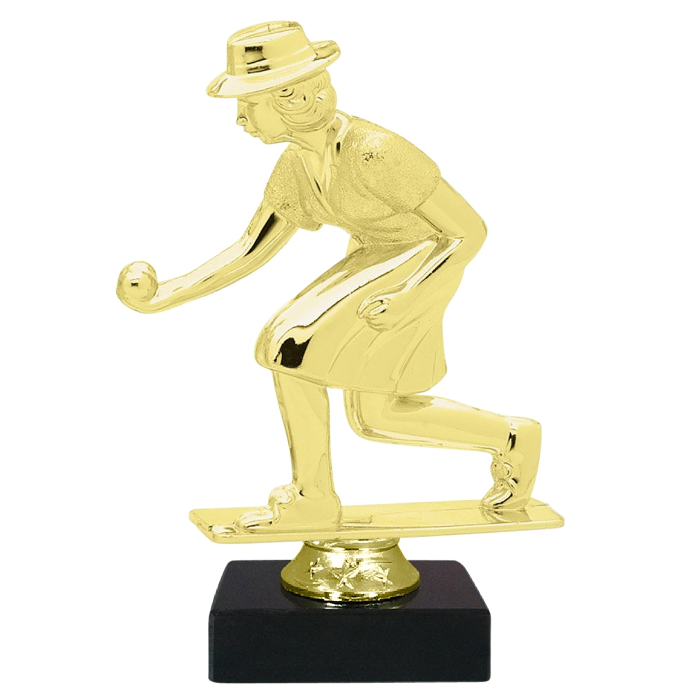 Female Lawn Bowling Figure on Marble Base Trophy