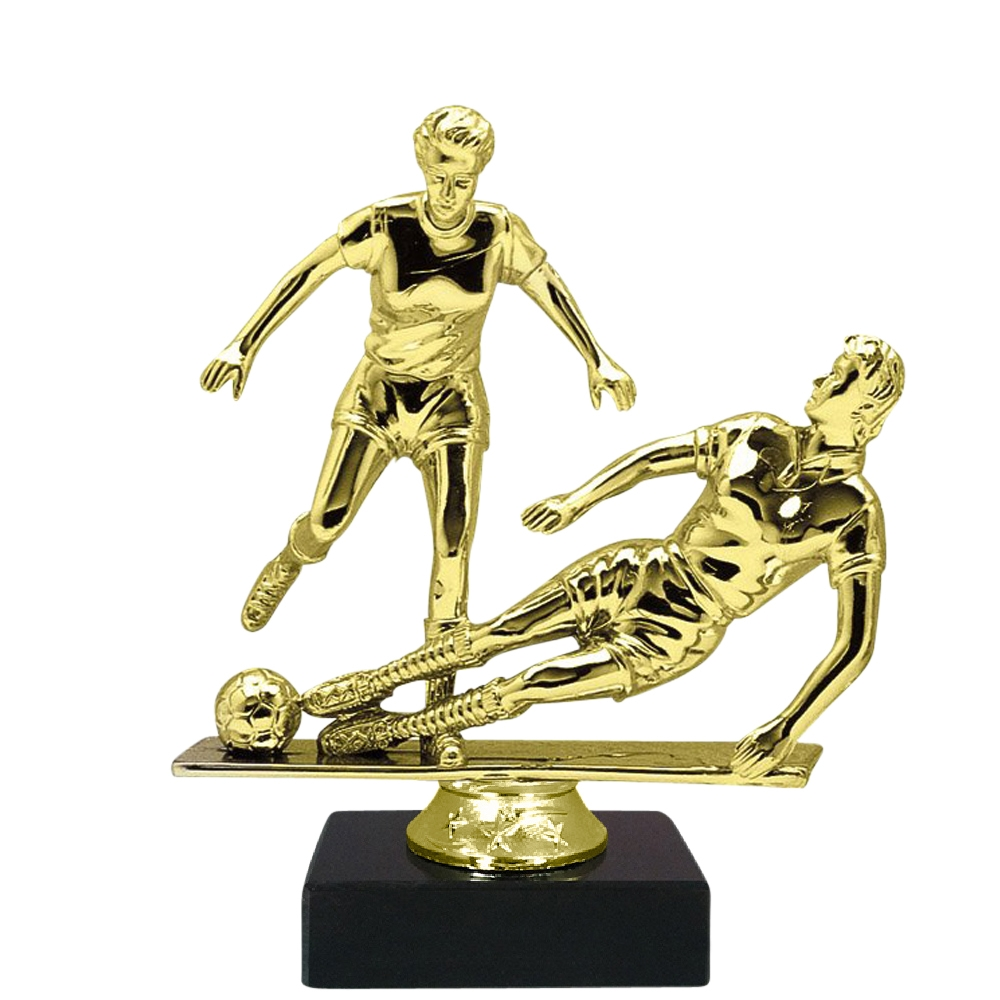 Dual Female Soccer Figure on Marble Base Trophy